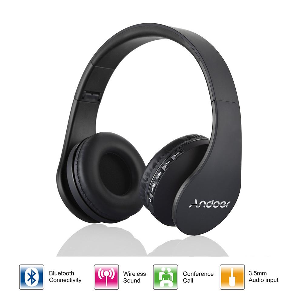 Bluetooth 3.0 + EDR Andoer LH-811 Stereo Wireless Headphone Bluetooth Headset & Wired Earphone with Mic MicroSD/TF FM Radio GOLD BLACK