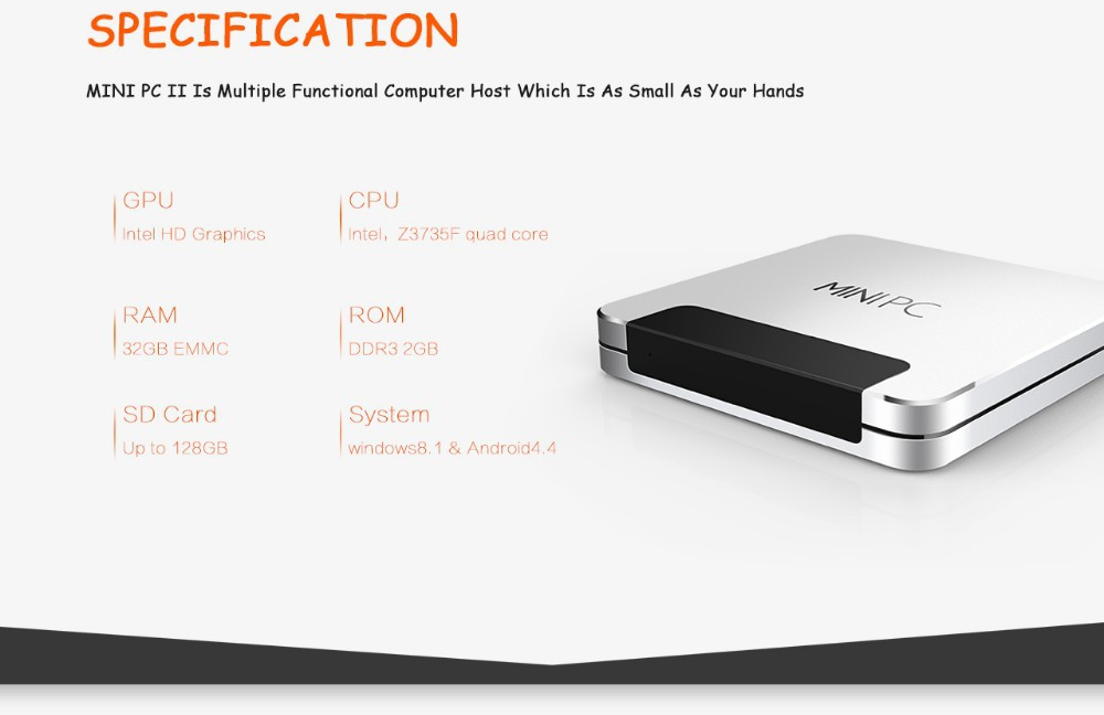 Ainol Windows Mini PC II Windows 8.1  Android 4.4 Intel Z3735F TV Box Quad  Core SILVER 461fcf5146bb